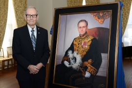 Lieutenant Colonel the Hon. Alan R. Abraham, CM, ONS, CD following the unveiling of his official portrait, 1 February 2018.